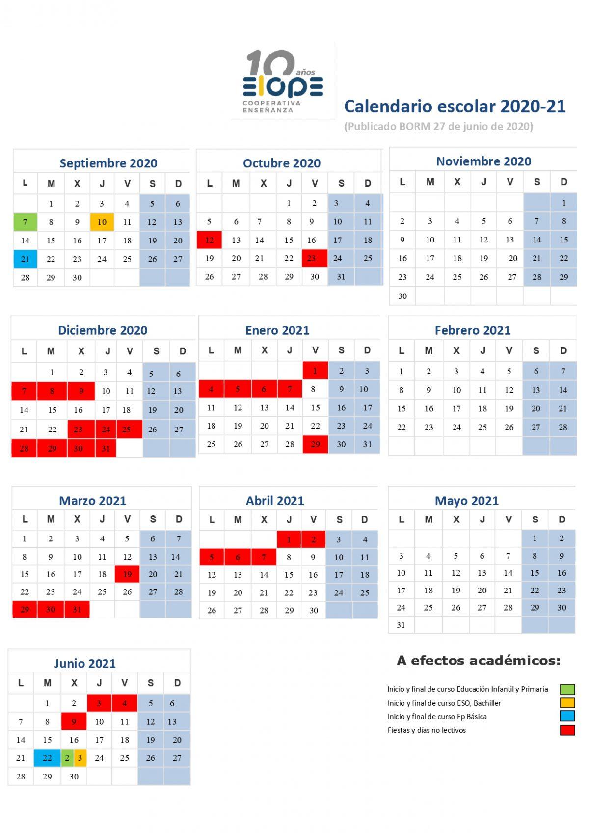 Calendario Escolar 2021