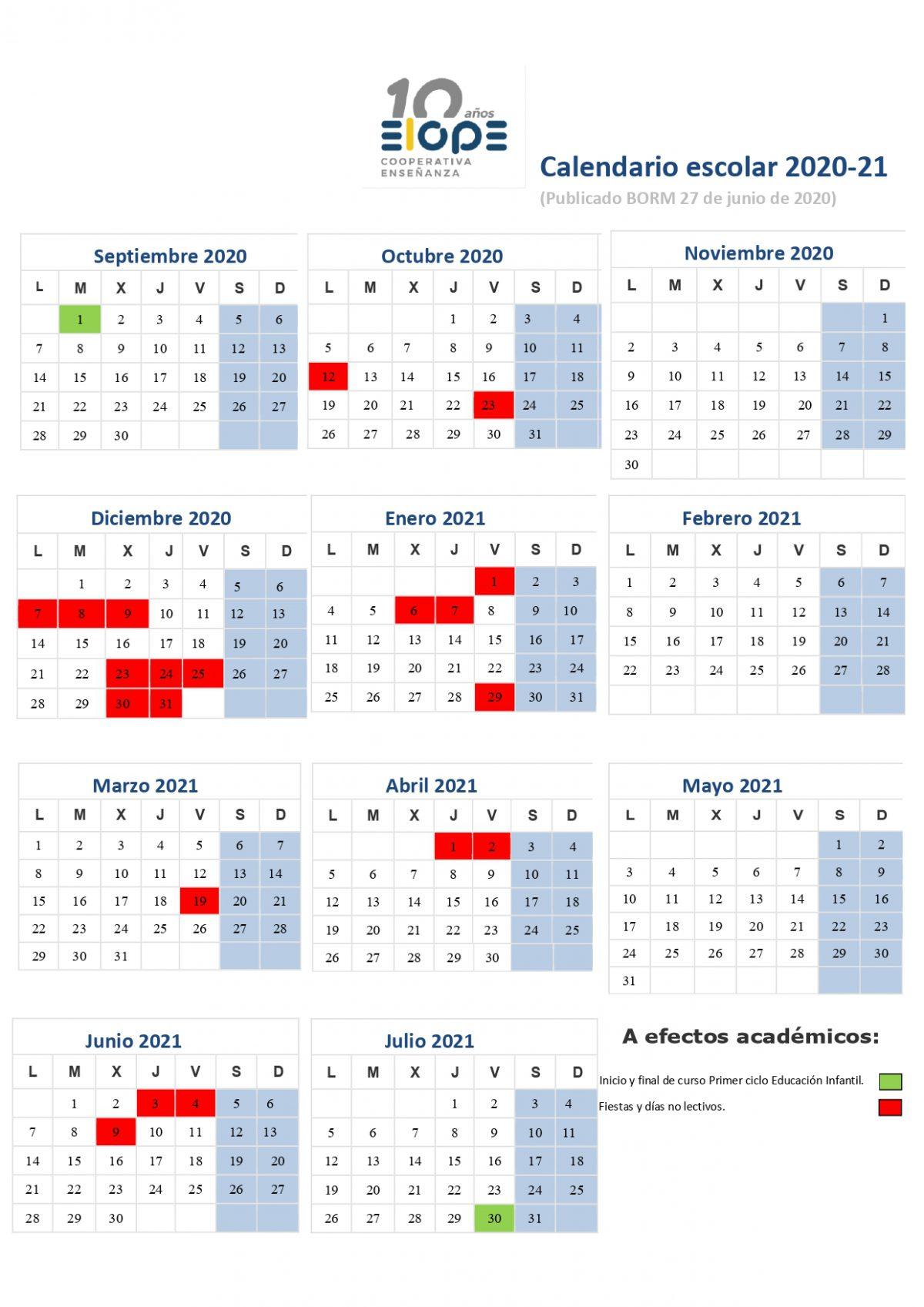 Calendario Escolar Guardería 2021